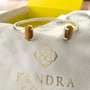 NWT Kendra Scott 14k gold cuff bracelet tigers eye